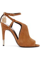 Tom Ford Cutout Suede Sandals Tan