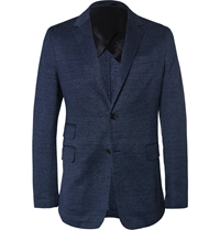Faconnable Navy Cotton And Linen Blend Blazer Blue