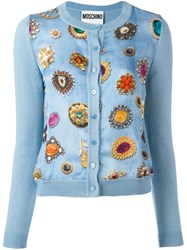 Moschino Jewel Print Cardigan Blue