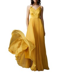 Kay Unger Pleated V Neck Stretch Silk Gown Marigold