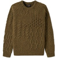 Beams Plus Crazy Nep Crew Knit Green