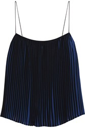 Dion Lee Pleated Chiffon Top Blue