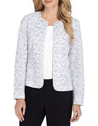 Tahari By Arthur S. Levine Floral Lace Jacket White Blue