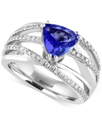 Effy Collection Effy Tanzanite 1 1 2 Ct. T.W. And Diamond 1 2 Ct. T.W. Ring In 14K White Gold Blue