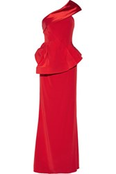 Mikael Aghal One Shoulder Satin Trimmed Crepe Gown Crimson