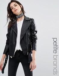 Vero Moda Petite Stud Faux Leather Biker Jacket Black
