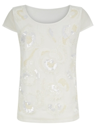 Kaliko Embellished Floral Top Natural