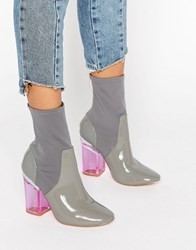 Truffle Collection Clear Heel Boot Grey