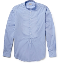 Massimo Alba Washed Cotton Voile Henley Shirt Blue