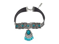 Steve Madden Triangle Stud Embedded Turquoise Stone W Beaded Fringe Choker Necklace Silver Necklace