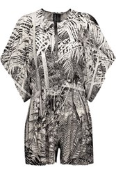 Norma Kamali Rectangle Draped Printed Stretch Jersey Playsuit Off White