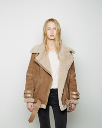 Acne Studios Velocite Oversized Shearling Jacket Ochre Yellow