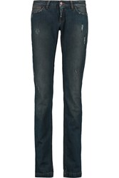 Dolce And Gabbana Distressed Low Rise Skinny Jeans Blue