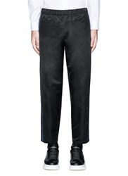 Alexander Mcqueen Side Stripe Satin Cropped Jogging Pants Black