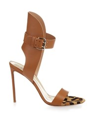 Francesco Russo Leather And Calf Hair Sandals Tan Multi