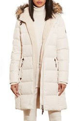 Lauren Ralph Lauren Women's Quilted Parka With Faux Fur Trim Moda Cream