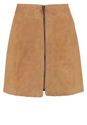 Selected Femme Sflusy Leather Skirt Cognac