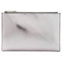 Whistles Small Metallic Clutch Pewter