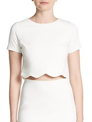 Saks Fifth Avenue Red Scalloped Crop Top Ivory