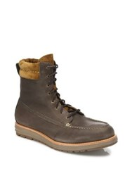 Cole Haan Waterproof Two Tone Leather Boots Major Brown