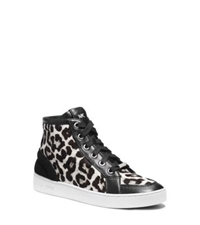 Michael Kors Keaton Hair Calf High Top Sneaker Black White