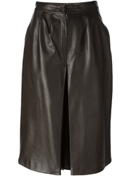 Celine Vintage Inverted Pleat Skirt Brown