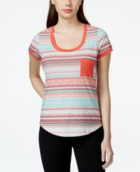 Self Esteem Juniors' Contrast Trim Pocket T Shirt Spiced Coral Cabbage