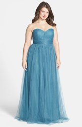 Plus Size Women's Jenny Yoo 'Annabelle' Convertible Tulle Column Dress Vintage Teal