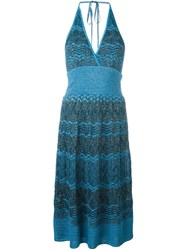 M Missoni Zig Zag Crochet Knit Halterneck Dress Blue