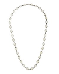 Bavna Long Silver And Rainbow Moonstone Station Necklace Women's