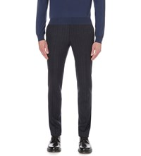 Corneliani Classic Fit Pinstripe Wool And Alpaca Blend Trousers Navy
