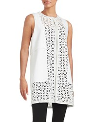 Elie Tahari Leather Trimmed Embroidered Veda Vest White