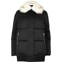 River Island Womens Black Padded Coat With Faux Fur Trim