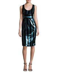 Milly Veronica Sleeveless Striped Sequin Cocktail Dress Blue Black Blue Pattern