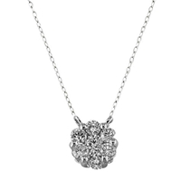 Ewa 18Ct White Gold Diamond Cluster 0.20Ct Pendant