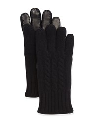 Goodman's Cable Knit Cashmere And Leather Gloves Black