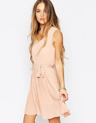 Daisy Street Skater Dress With Pleated Skirt Pink
