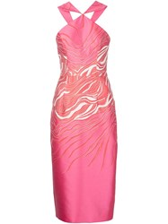Christian Siriano Floral Halter Sheath Dress Pink And Purple