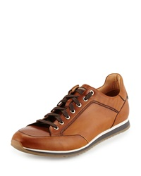 Magnanni For Neiman Marcus Antiqued Leather Sneaker Cognac