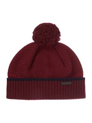 Ted Baker Archat Twill Knitted Bobble Hat Dark Red