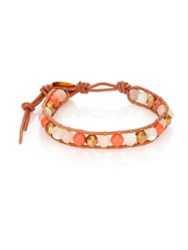 Chan Luu Red Aventurine Mother Of Pearl Salmon Faux Pearl And Leather Beaded Bracelet Gold Multi