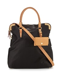 Etienne Aigner Daily Distressed Leather Fold Over Tote Black