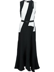 Derek Lam Contrast Belted Mid Length Dress Black