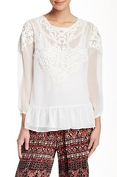 Angie Sheer Peplum Embroidered Blouse White