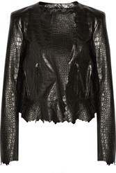 Isabel Marant Croc Effect Leather Jacket Black