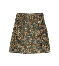 Prada Metallic Cloque Jacquard Skirt Green