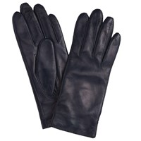 John Lewis Cashmere Lined Leather Gloves Navy