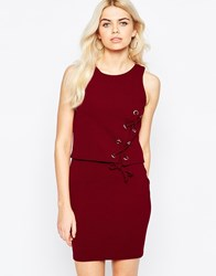 Daisy Street Dress With Overlay Top And Lace Up Detail Red