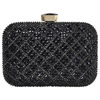 Jacques Vert Stone Embellished Box Clutch Bag Black