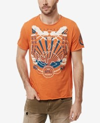 Buffalo David Bitton Men's Nalok Graphic Print T Shirt Pumpkin